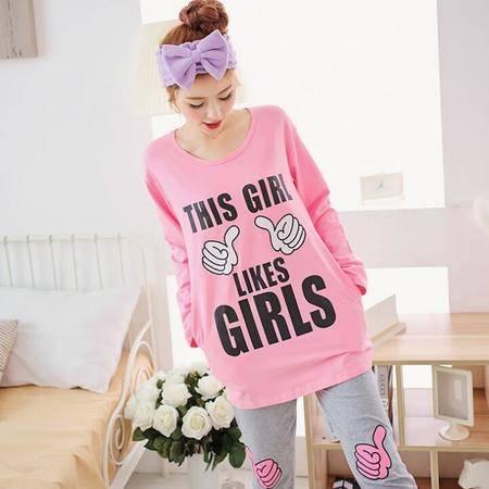 韩版长袖女士纯棉套头睡衣冬季外穿休闲弹力可爱家居服套装