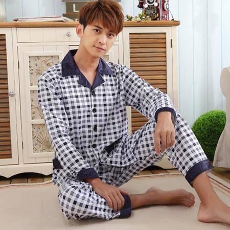 新款格子男士纯棉长袖冬季中年保暖睡衣开衫翻领加厚超柔棉家居服