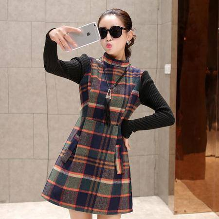 2016新款冬装显瘦修身休闲格子毛呢拼接连衣裙