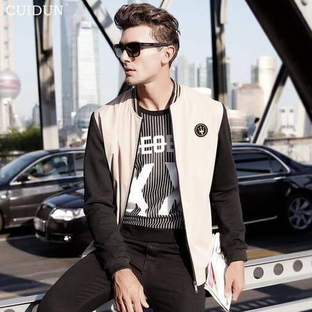 2015秋季新款男士夹克薄款休闲修身拼接立领风衣外套男装
