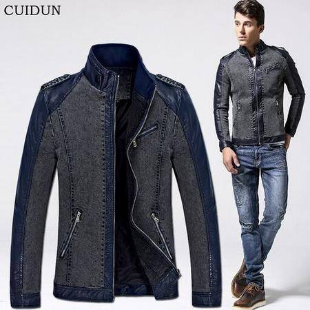 2015秋冬品牌男士夹克休闲修身立领插皮牛仔外套男装