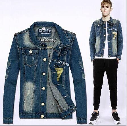 2015秋季新品青年牛仔外套韩版修身水洗磨白牛仔男式夹克