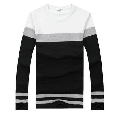 2015秋冬装男式长袖t恤韩版修身纯棉条纹打底衫男装