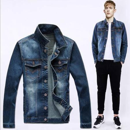 2015秋装新品男式牛仔夹克韩版修身水洗磨白牛仔外套男装