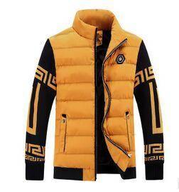 2015秋冬装男式休闲棉服韩版修身立领加绒针织袖棉衣外套