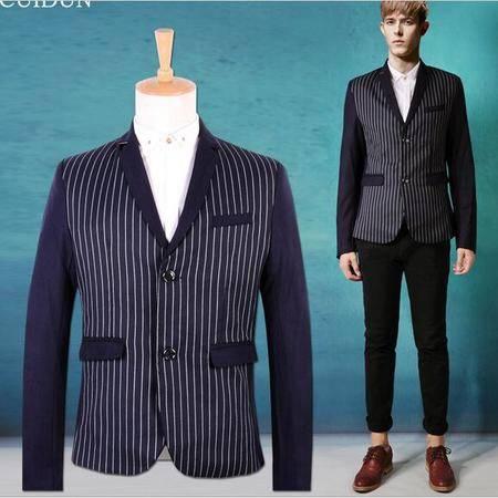 2015秋冬新品男士西装韩版修身条纹小西装男西服外套