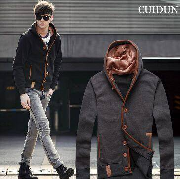 2015秋冬新款男式卫衣韩版修身连帽运动卫衣外套男装