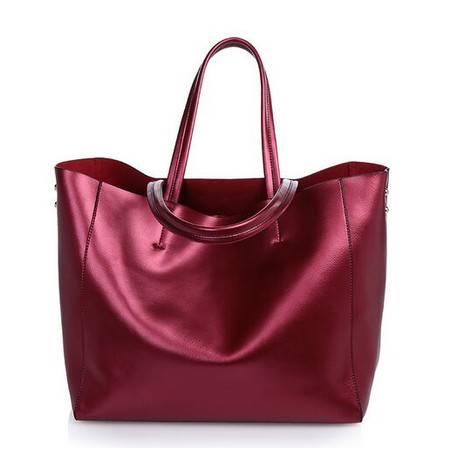 2015秋冬新品欧美时尚真皮女包大包女牛皮单肩手提包大容量购物袋