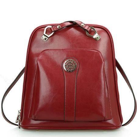 2015新款潮学院风时尚牛皮多用双肩包书包单肩背包旅行包