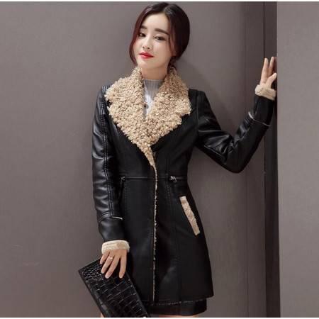 2016冬款中长款皮毛棉衣加厚保暖撞拼接女外套冬棉衣