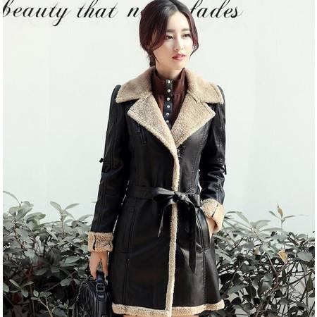 2016黑色皮衣女秋冬季新款女装外套拉链韩版配腰带