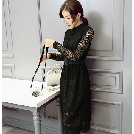 2016早春新款长袖性感蕾丝收腰显瘦连衣裙女装