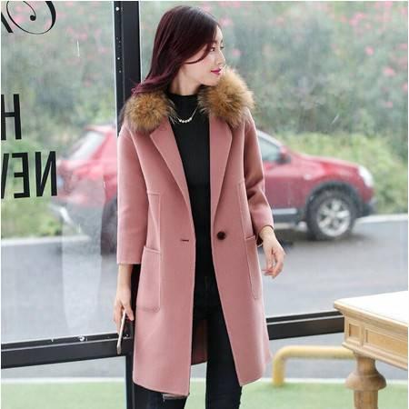 2016冬装显瘦气质甜美女装正品新款修身毛呢外套