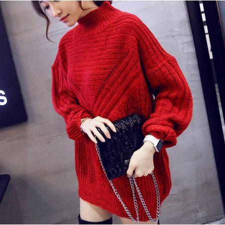 毛衣中长款毛衣2016冬季新款套头韩版修身显瘦针织毛衣