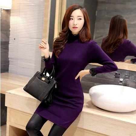 2016新款紫色修身半高领黑色纯色通勤套头常规服饰