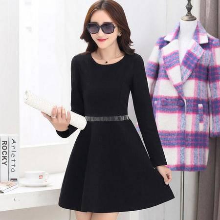 2016冬装显瘦气质甜美女装正品新款修身连衣裙