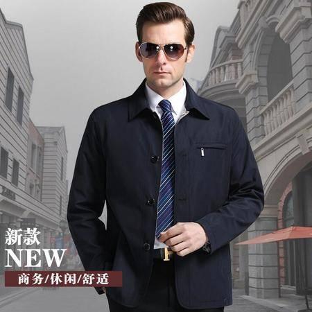 正品花花公子2016春装新款男士商务休闲百搭纯色舒适夹克外套
