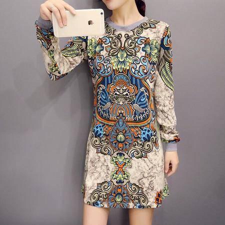 2016春装新款 时尚复古印花连衣裙 打底长袖气质连衣裙