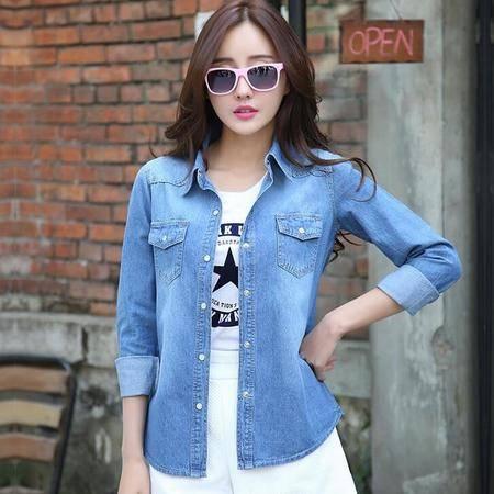 2016春季韩版水洗磨白做旧女款长袖牛仔衬衫女