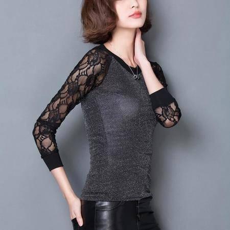 2016春季新款时尚修身网纱大码蕾丝拼接打底衫女长袖T恤