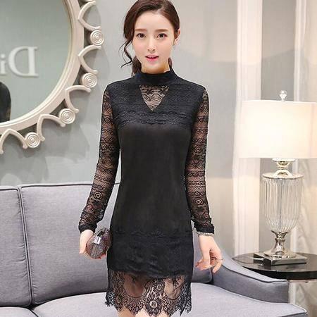 2016春装新款韩版麂皮绒中长款打底裙修身显瘦长袖蕾丝连衣裙子