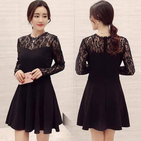 2016春装新款韩版修身蕾丝打底裙中长款连衣裙