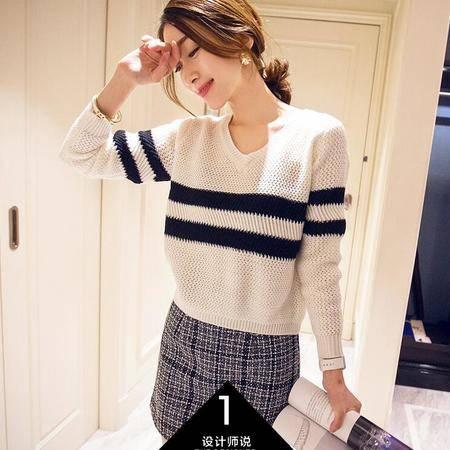 2016春季新款时尚针织套装女针织套头毛衣短裙两件套