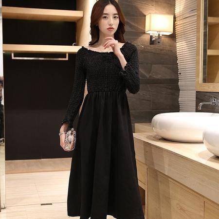 2016春装新款韩版大裙摆中长款连衣裙长袖打底裙子女