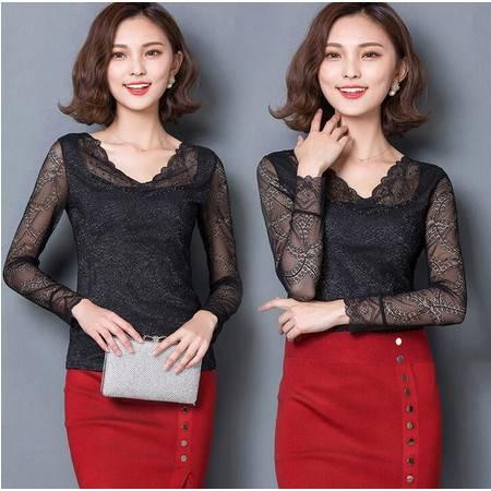 2016春季韩版修身女大码V领长袖蕾丝网纱打底衫修身显瘦T恤潮女