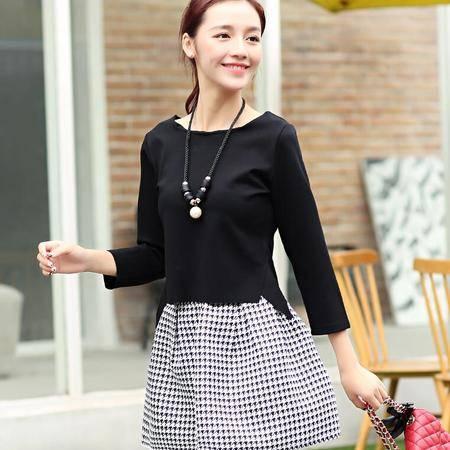 2016春季新款韩版气质修身千鸟格两件套套装连衣裙送项链