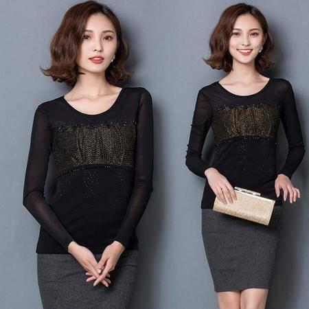 2016春季韩版新款修身网纱显瘦打底衫镶钻长袖圆领T恤女