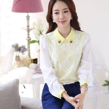 2016春装韩版新款修身娃娃领长袖雪纺衫打底衫女上衣