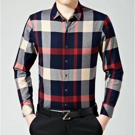 2016春季新款男式长袖衬衫薄款丝光棉商务免烫男士格子衬