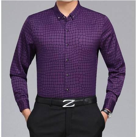 2016春装中年男长袖衬衫丝光棉格子免烫男式商务衬衫薄款爸爸装