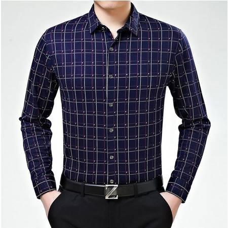 2016春季男装新品丝光棉商务免烫男式长袖格子印花衬衫薄款