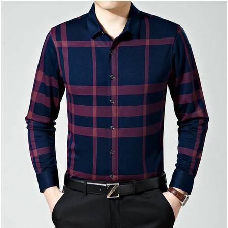 2016春秋季男装新款长袖衬衣丝光棉商务免烫男式格子印花衬衫薄