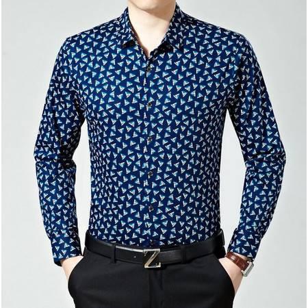 2016春季男装新款长袖衬衫男士商务免烫丝光棉印花衬衫薄