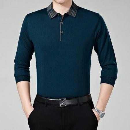 2016男装新款长袖t恤针织薄款纯色翻领中年商务爸爸装春装
