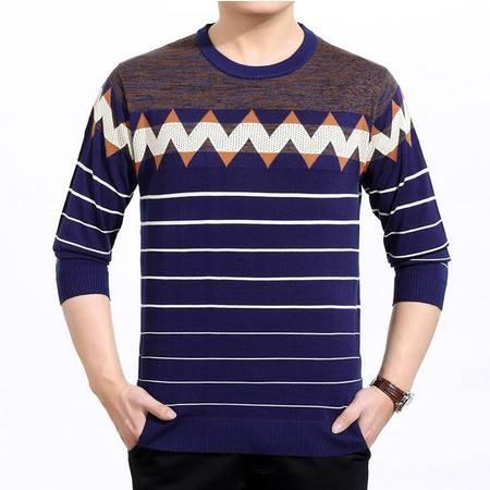 2016春装新款男式圆领长袖t恤宽松条纹套头青年男士针织t恤衫