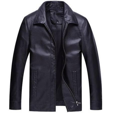 2016春季新款男式皮衣高仿绵羊皮中年爸爸装翻领休闲皮衣薄款