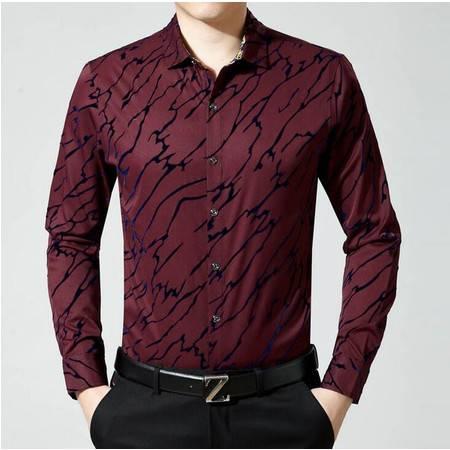 2016春季新款品牌男装长袖男士衬衫男式植绒碎花衬衫中年男衬衣