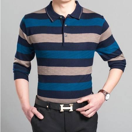 2016春季新款男式针织衫男士翻领长袖羊毛衫男装条纹中年爸爸装