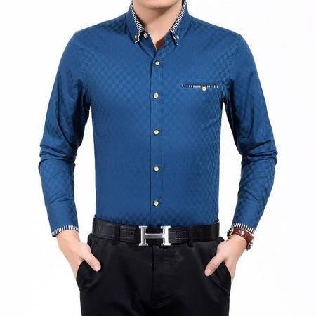 2016春季新款男式衬衫男士长袖衬衫双丝光棉男衬衣