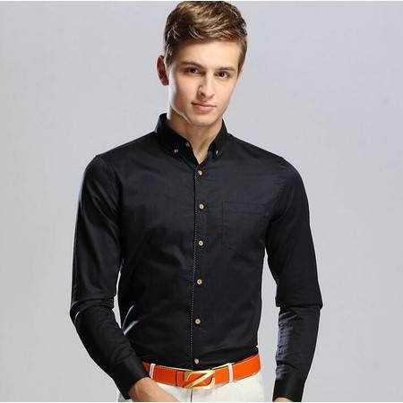 2016春季轻奢新品修身男衬衫男式长袖衬衫男士商务纯色全棉衬衣