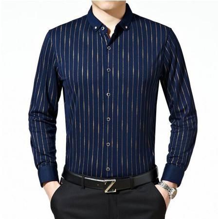 2016装新款男士长袖衬衫男式衬衫条纹小领男衬衣品牌休闲衬衫男