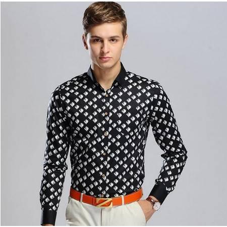 2016春季新品男式长袖衬衫男士格子时尚全棉衬衣修身男装衬衫男