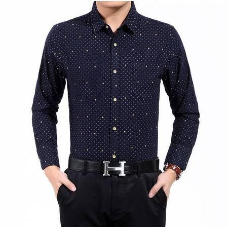 2016春季新款磨毛纯棉男式衬衫男士长袖衬衫中年男装衬衣有口袋