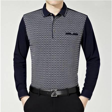 2016春季新款男士t恤翻领格子男式长袖T恤衫品牌男装