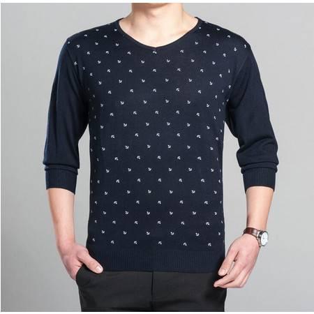 2016品牌春季新款休闲男士针织衫男式长袖V领毛衣男式t恤