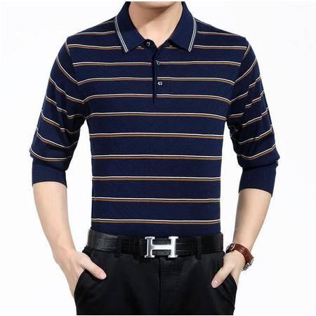 品牌男装春季新款男式针织衫条纹商务中老年男士长袖毛衣爸爸装